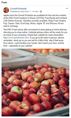 Cornell Orchards Facebook post
