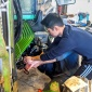 Lawrence Li '21 installs the Optimus Technologies' Vector System on a tractor