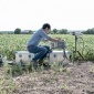 Student using equipment in field
